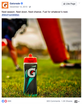 Gaterade #winfromwithin social campaign