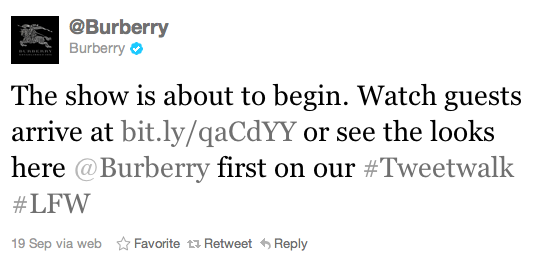 Burberry Twitter tweet walk